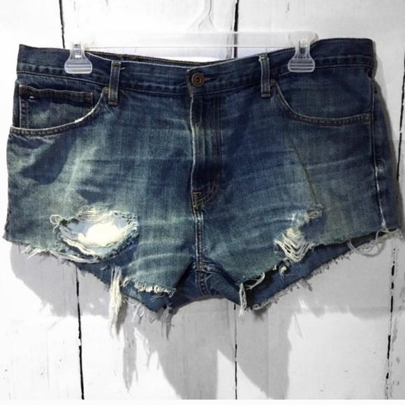 TOMMY HILFIGER Distressed Jean Cut Off Shorts